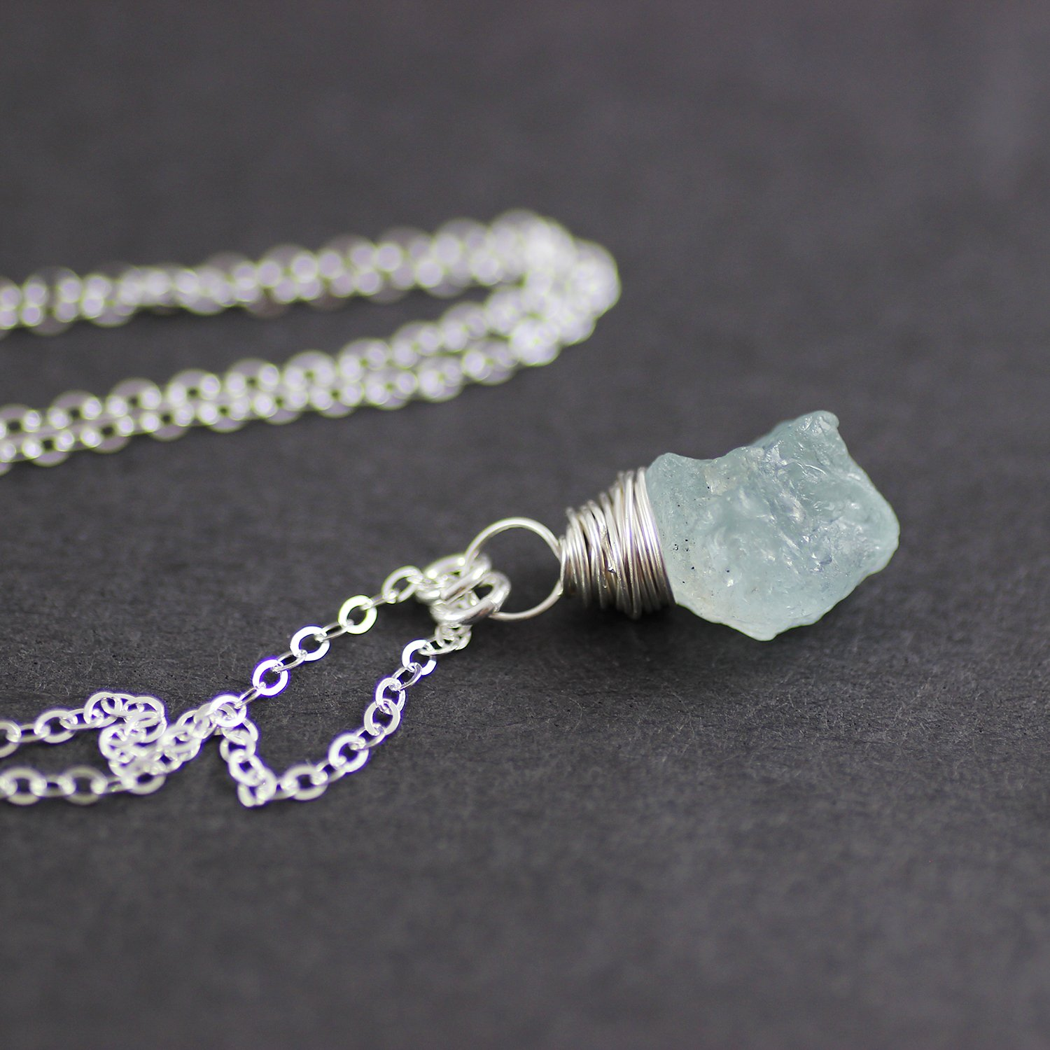 Blue Aquamarine Raw Gemstone Silver Necklace - 16 Length