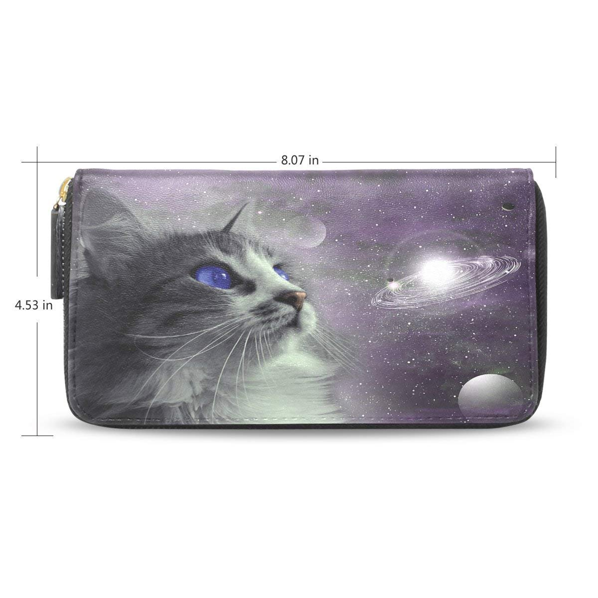 Space Cat Passport Long Wallets Business Card Case Holder Clutch Purse Handbag
