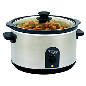 West Bend 85156 6-Quart Round Crockery Cooker, Stainless Steel/Black (Discontinued by Manufacturer)