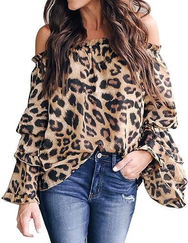 JURTEE Camisa Mujer Leopardo Moda Sexy Fuera del Hombro Camiseta Manga De Campana Blusa Casual Tops Primavera Verano Ropa: Amazon.es: Ropa y accesorios