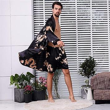 YPDM Bata,Pijamas de satén de Seda Hombres Traje de Kimono Conjuntos de Batas de dragón de Verano Pantalones Cortos de Dos Piezas Batas Ropa de Dormir Tallas Grandes 5XL, Rojo, XXL: Amazon.es: