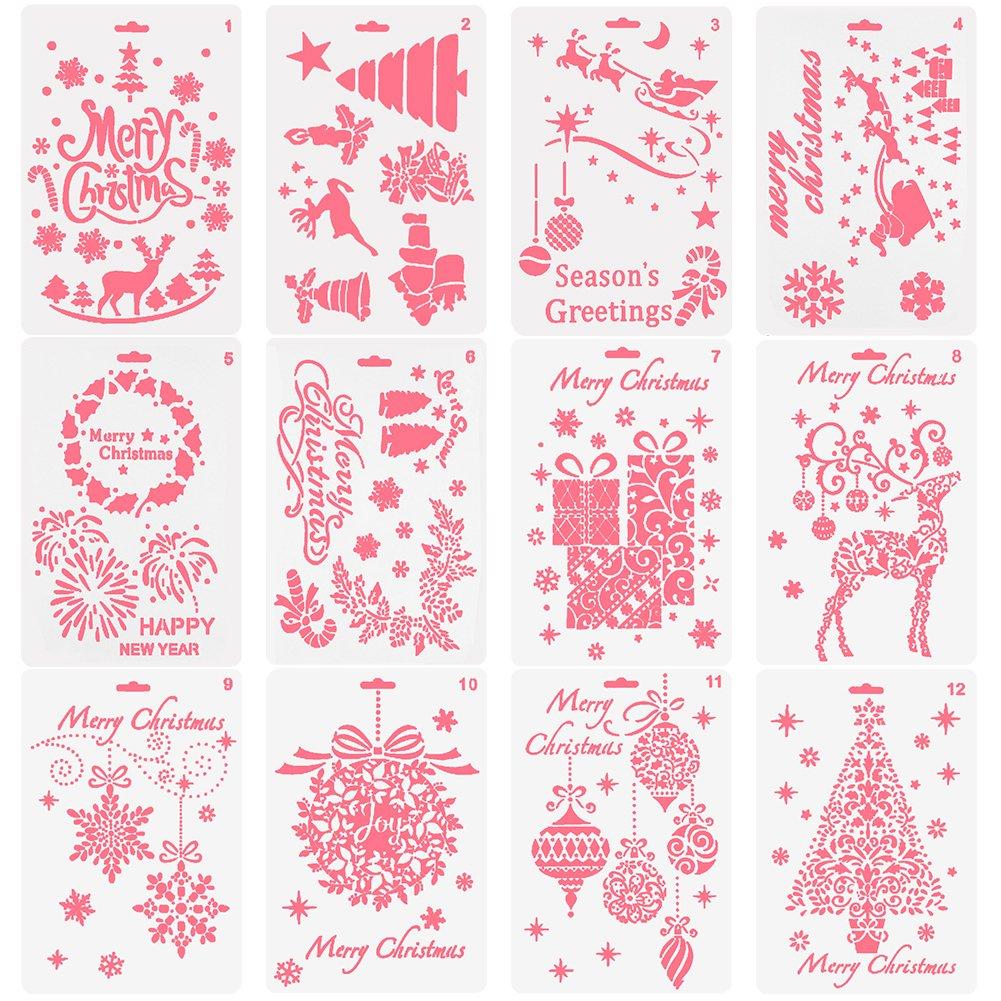 Stencils templates shop amazon nablue christmas painting template creative christmas trees reindeer boots angel snowflake snowman santa amipublicfo Images