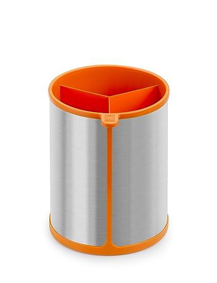 BRA Efficient Bote Giratorio para Utensilios de Cocina, Acero Inoxidable, Naranja, 14.5 x