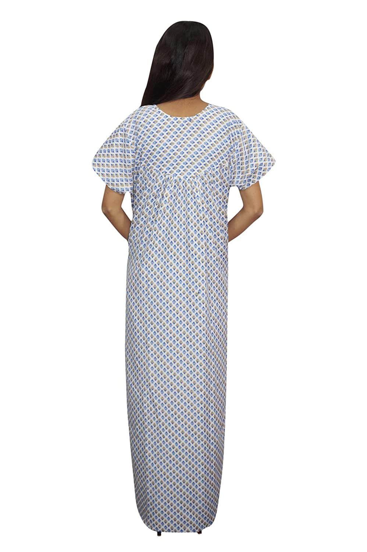 7c731cd58b Indiatrendzs Women Nightdress Long Printed Cotton Sleepwear Blue Nighty XL   Amazon.in  Clothing   Accessories