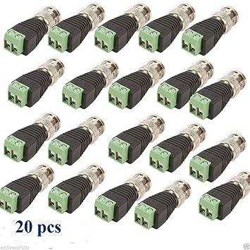 20x BNC Male Connector CAT5 CCTV Video Adaptor Coaxial Balun Camera TV NEW