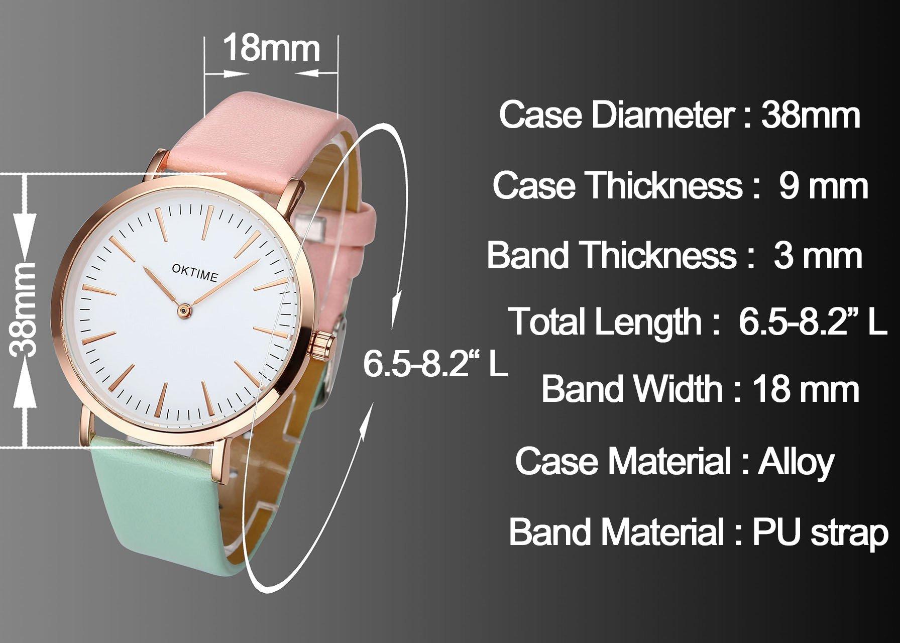 JSDDE Uhren,Fashion Cute Candy Farbe Damen Armbanduhr Pink-Grün Farbverlauf Kleid Uhr PU Lederband Analog Quarz Uhr