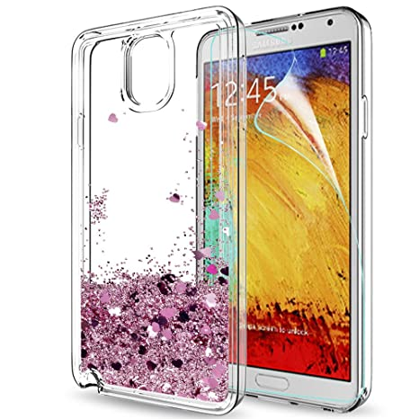 quality design dcaef 0a0c2 LeYi Custodia Samsung Galaxy Note 3 Glitter Cover con HD  Pellicola,Brillantini Trasparente Silicone Gel Liquido Sabbie Mobili Bumper  TPU Case per ...