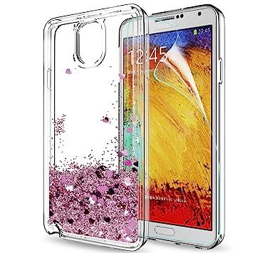 LeYi Funda Samsung Galaxy Note 3 Silicona Purpurina Carcasa con HD Protectores de Pantalla,Transparente Cristal Bumper Telefono Gel TPU Fundas Case ...
