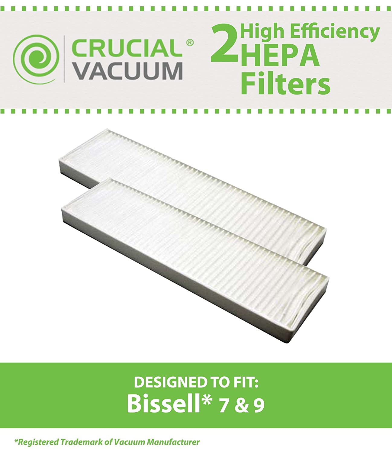 2-Pack HEPA Filter Designed To Fit Bissell Style 7, Style 9 HEPA Filter; Compare to Bissell Part # 32076; Designed & Engineered By Crucial Vacuum