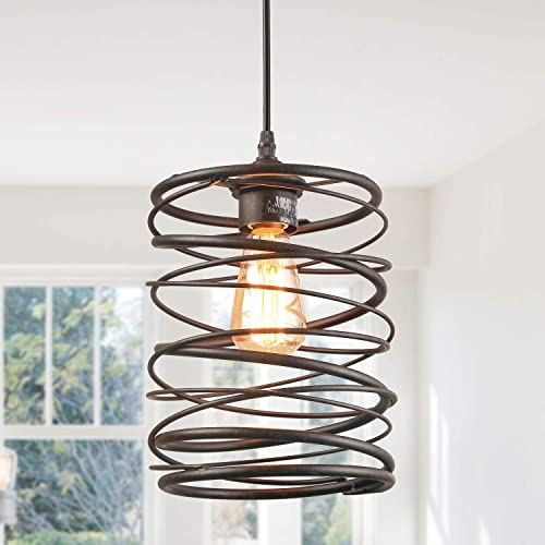 LNC A03291 Pendant Lighting for Kitchen Island Rustic Farmhouse Rust Cage Hanging Lamp,Brown