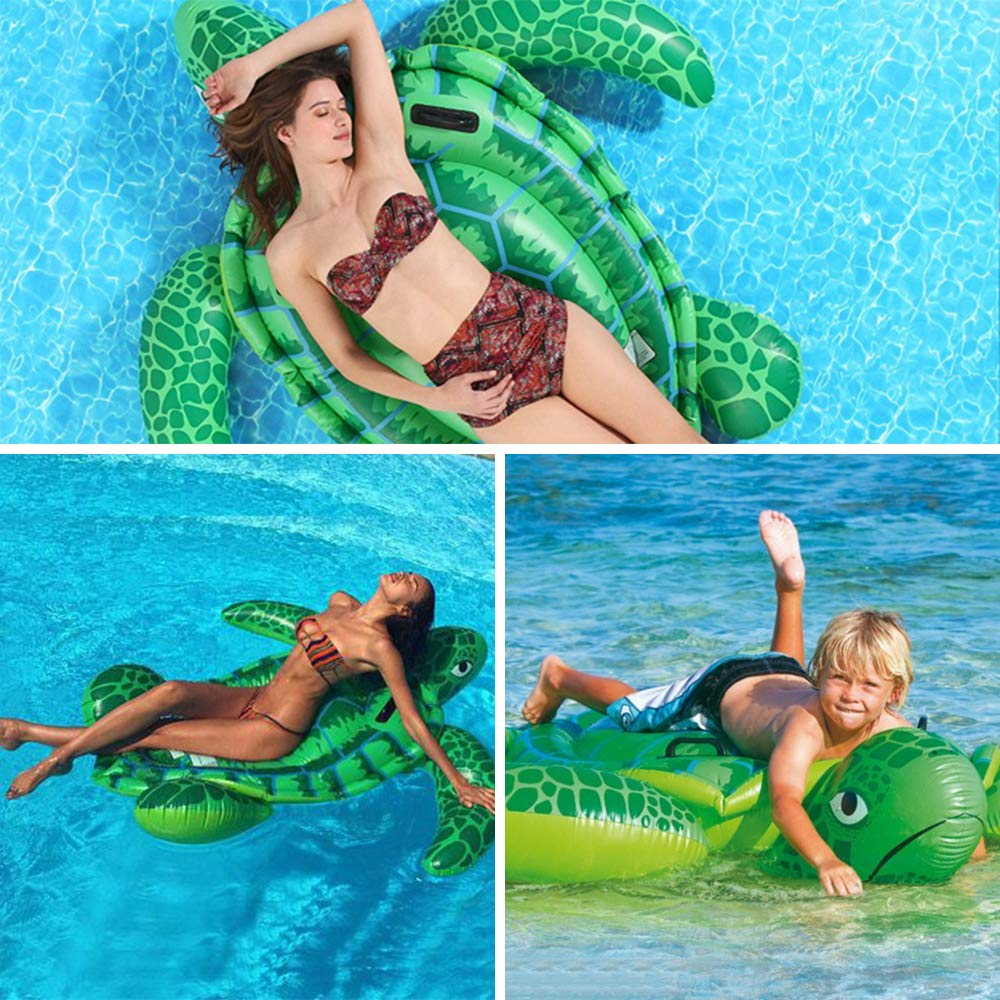 Luckstar 75'' x 67'' Sea Turtle Ride-On Inflatable Giant Turtle Float Toy Floating Bed Mat Turtle Swimming Pool Float Kids Inflate Raft Beach for Child Adults by Luckstar (Image #6)