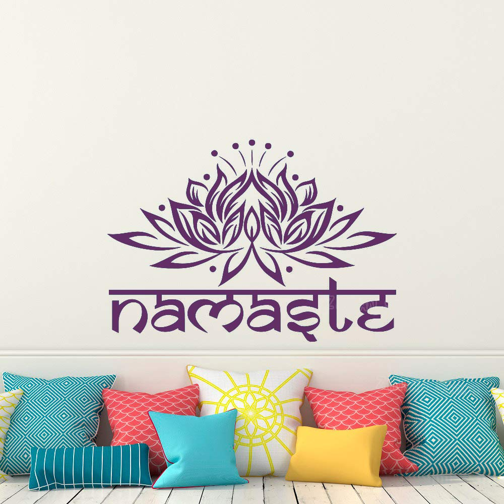 Flor Tatuajes de pared Dormitorio Yoga Namaste Vinilo Pegatinas ...