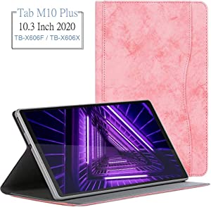 """Wineecy Lenovo Tab M10 Plus Case 10.3 inch, Premium Leather Stand Folio Cover Case with Pocket, Auto Wake/Sleep Function for Lenovo Tab M10 Plus TB-X606F / TB-X606X 10.3"""" FHD Android Tablet (Pink)"""