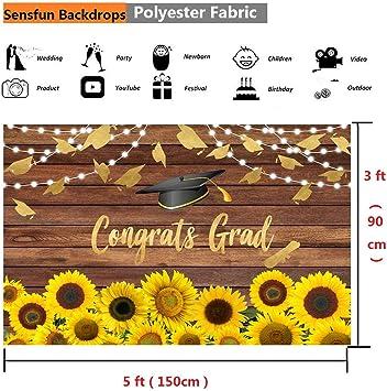 Felizotos Wood Sunflower Class of 2020 Congrats Grad Backdrop Decorations 2020 Graduation Prom Party Rustic Board Banner Photoshoot Photo Studio Wallpaper 6x4ft