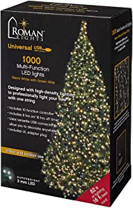 Roman Lights Superbright LED USB 1000L Warm White 84 ft, Green Cord Light Set, 10 Function Controller, 8 on/16 Off Timer, String, Perfect for Lighting Trees, Railings and More