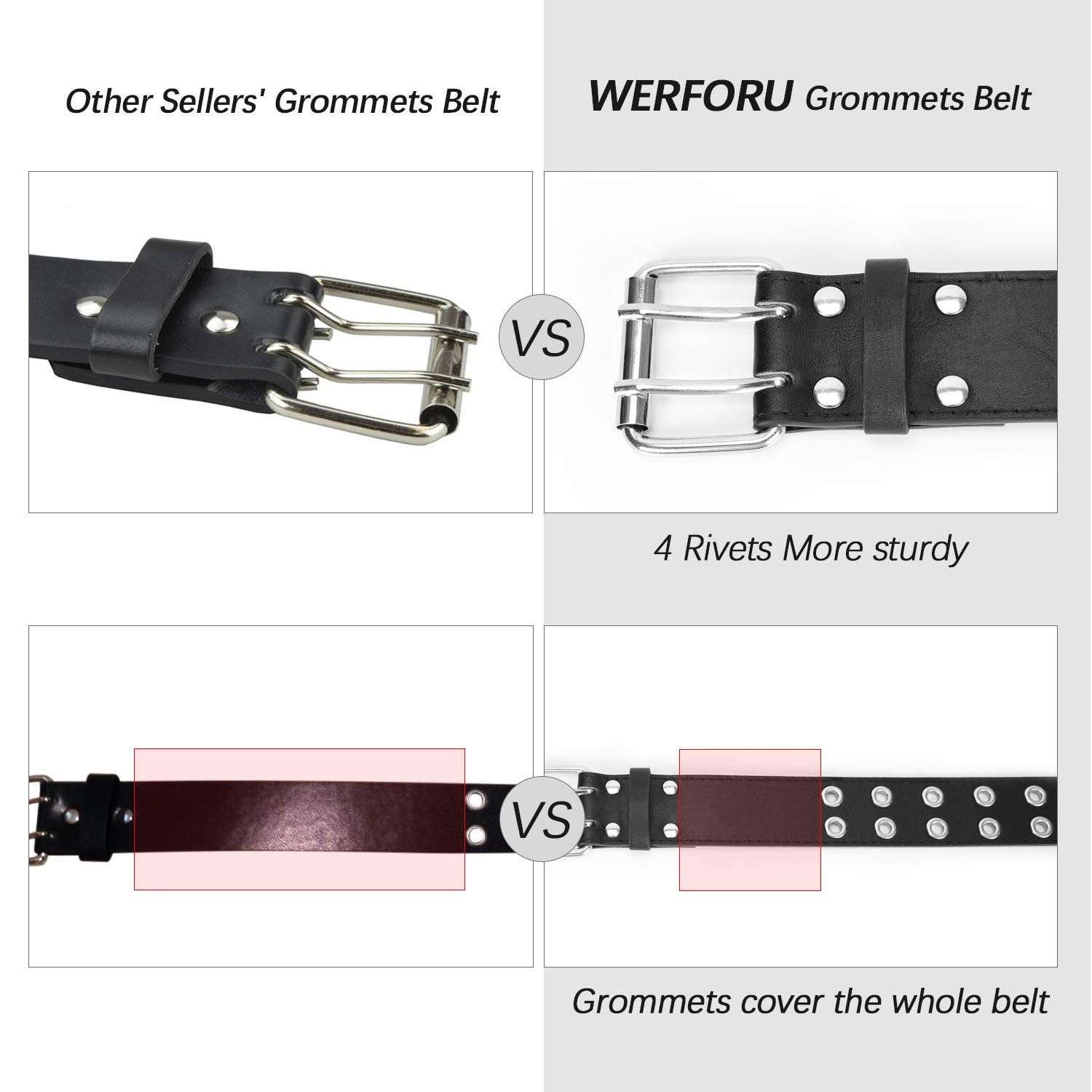 Double Grommet Belt PU Leather Double Prong Belt Buckle for Women Men Jeans By WERFORU