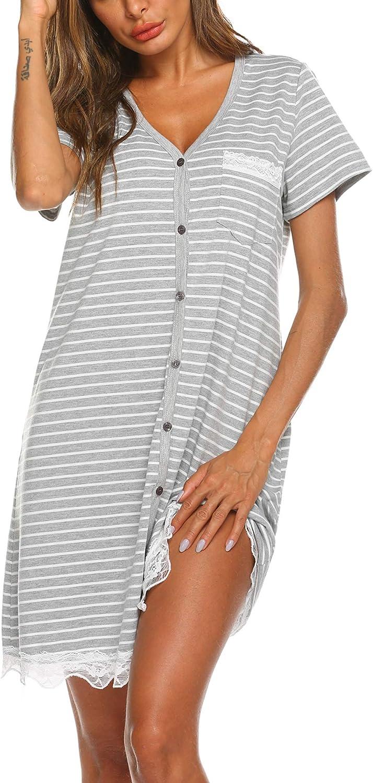 Ekouaer Women's Nightgown Striped Tee Short Sleeve Sleep Nightshirt Breastfeeding Loungewear Button Down Pajama Dress S-XXXL