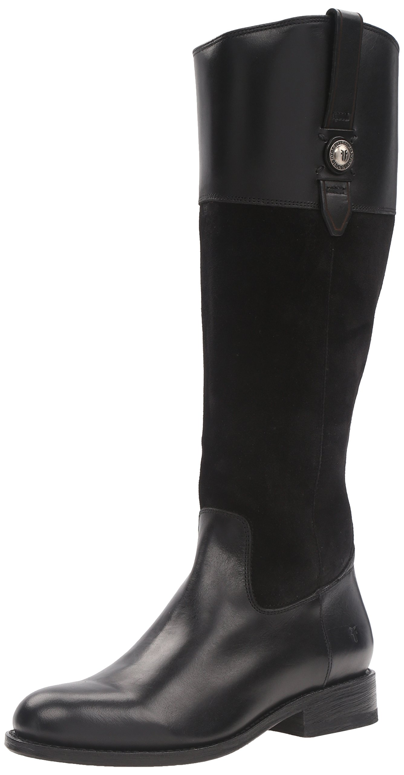 FRYE Women's Jayden Button Tall Leather and Suede Riding Boot, Black, 8.5 M US
