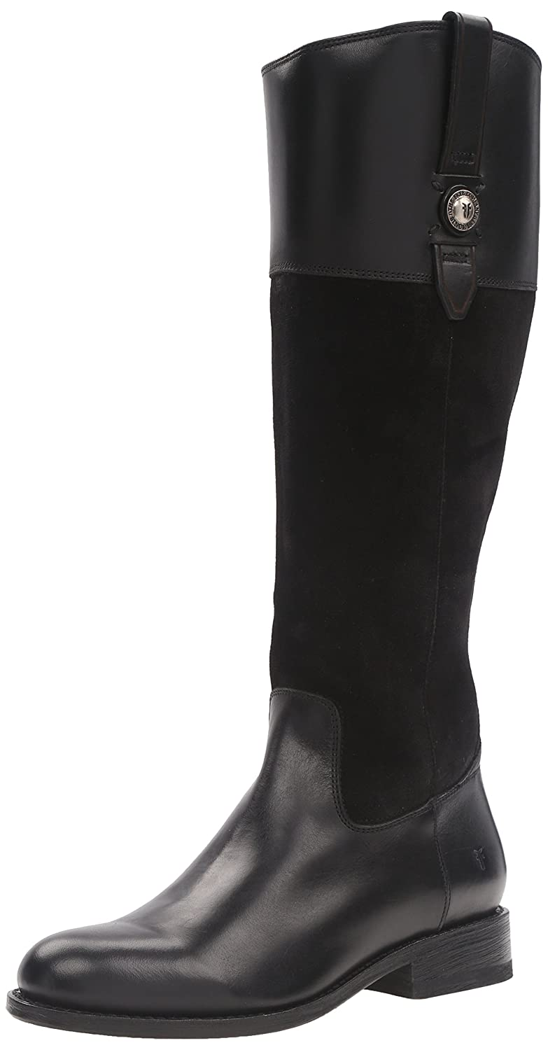Black Frye Women's Jayden Button Tall Leather and Suede Riding Boot