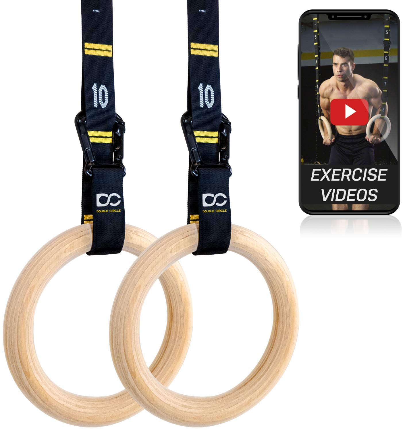 Double Circle Wood Gymnastic Rings with Quick Adjust Numbered Straps and Exercise Videos Guide for Full Body Workout, Crossfit, and Home Gym