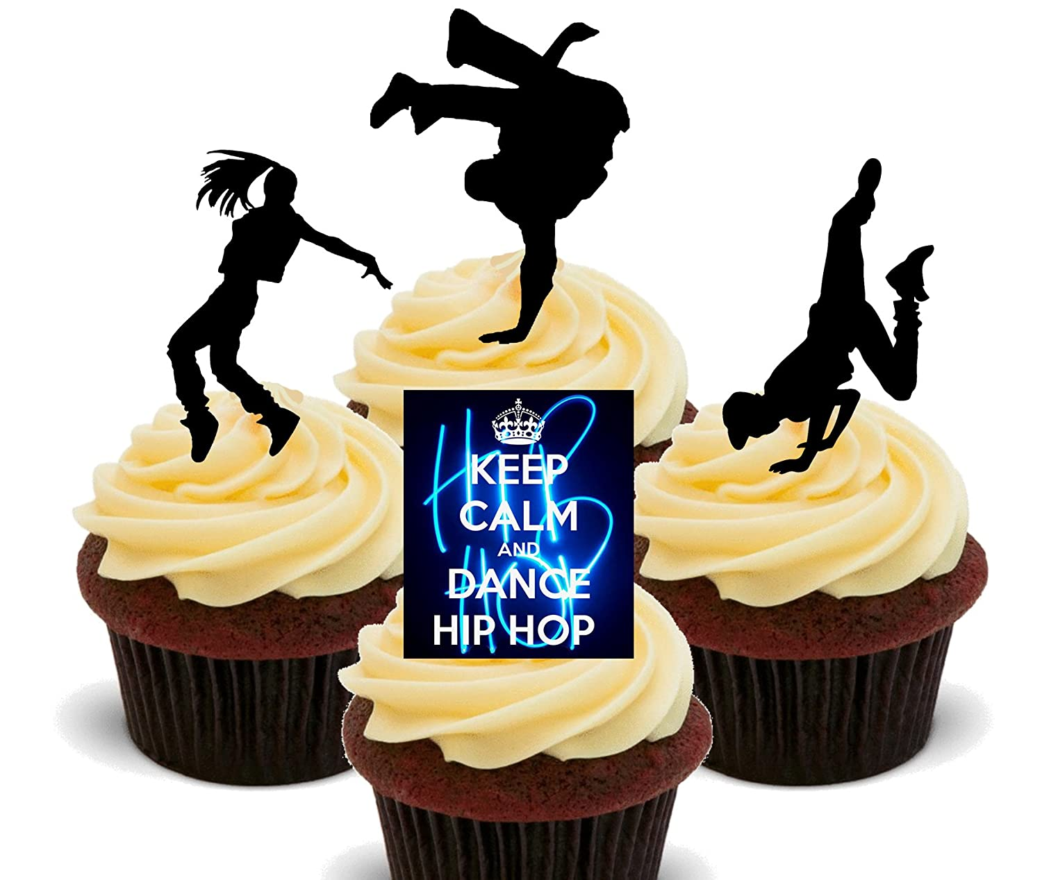 Keep Calm and Dance Hip Hop Edible Cupcake Toppers - Stand-up Wafer ...