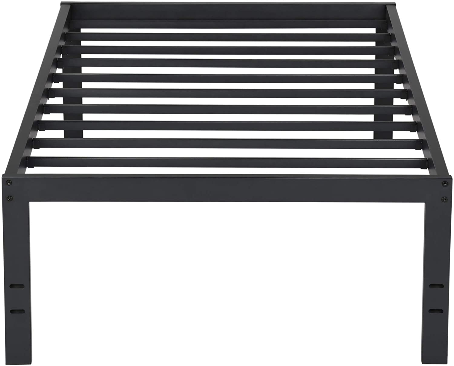 PrimaSleep 18 Inch Tall Metal Bed Frame Dura Steel Slat Anti-Slip Support No Box Spring Needed Black Twin,