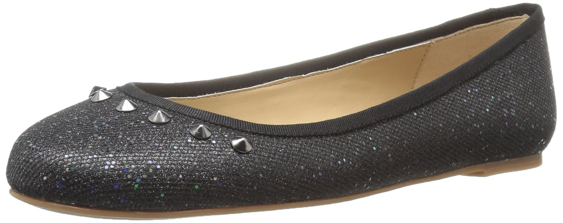 The Fix Women's Evelyn Studded Ballet Flat, Black Party Glitter, 6 M US