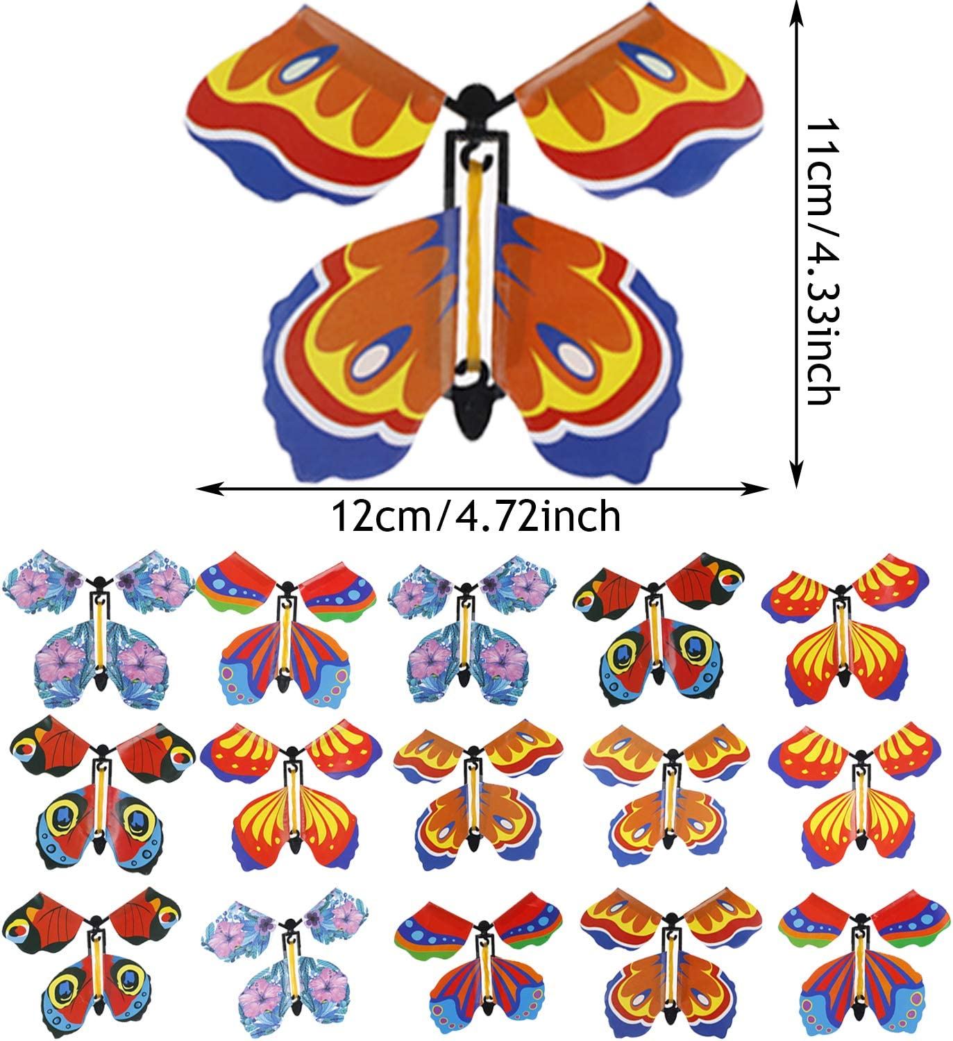Olgaa 20Pc Magic Flying Butterfly Wind Up Toys for Kids Girls Rubber Band Butterfly Toy for Surprise Gift or Party Playing