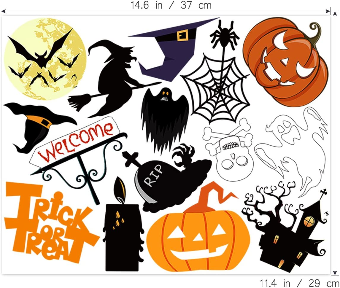 Halloween Sticker 35-Patterns Trick or Treat Stickers Decals Sheet Removable for Halloween Party Favors Unisex 2 Sheets