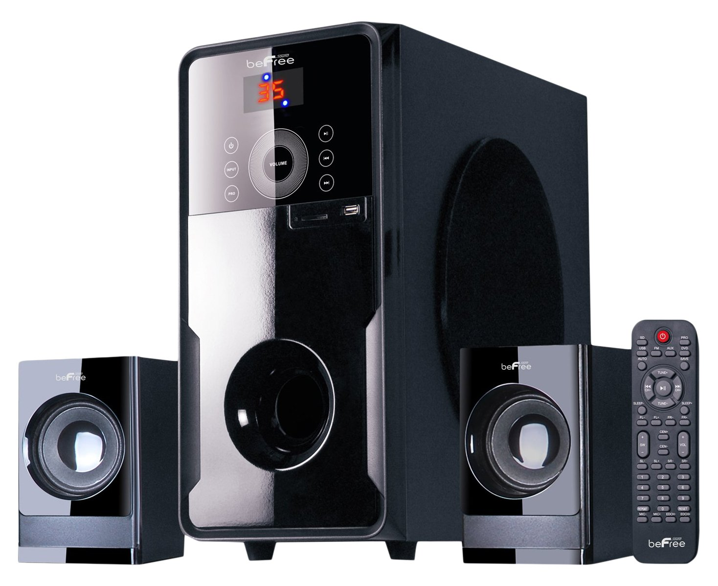 beFree Sound BFS-50 2.1 Channel Surround Sound Bluetooth Speaker System