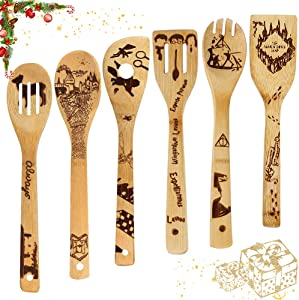 Wooden Spoons for Cooking 6-Pieces Bamboo Kitchen Utensil Set, Apartment Essentials Wood Spatula Spoon Nonstick Premium Quality Housewarming Gifts Wooden Utensils for Daily Use (Christmas pattern)