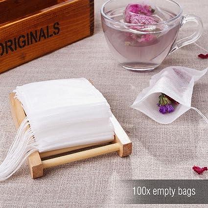 100 bolsas de té vacías con cierre de cordón y filtro de ...