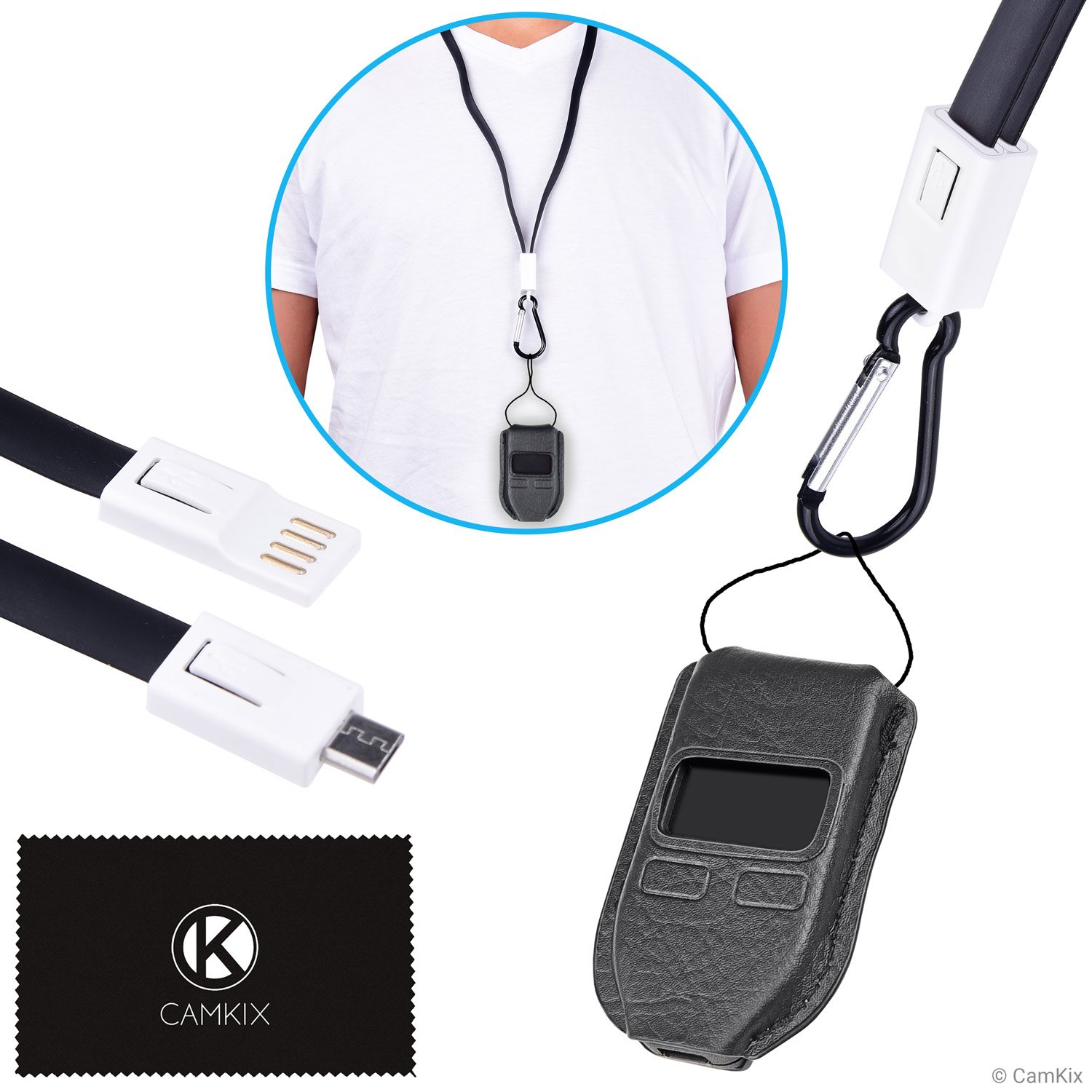 2in1 Kit for Trezor One Bitcoin/Cryptocurrency Wallet - Tailor Made Protective Case - USB Lanyard for Transport, Power and Data Transfer - Carabiner/Tether to Protect Against Loss by CamKix