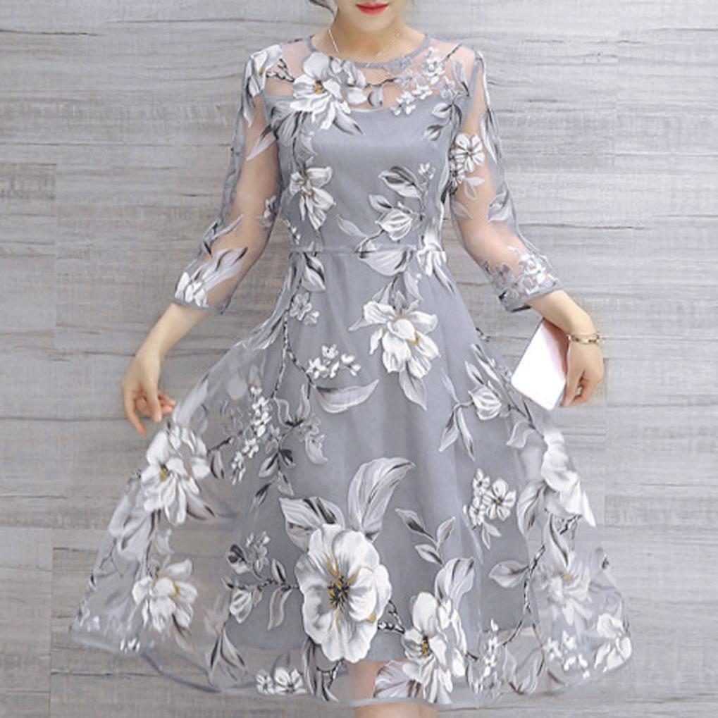 Overdose Vestido De C/óCtel del Vestido De Fiesta del Baile De Fin De Curso De La Fiesta De La Boda del Estampado Floral De Organza del Verano De Las Mujeres