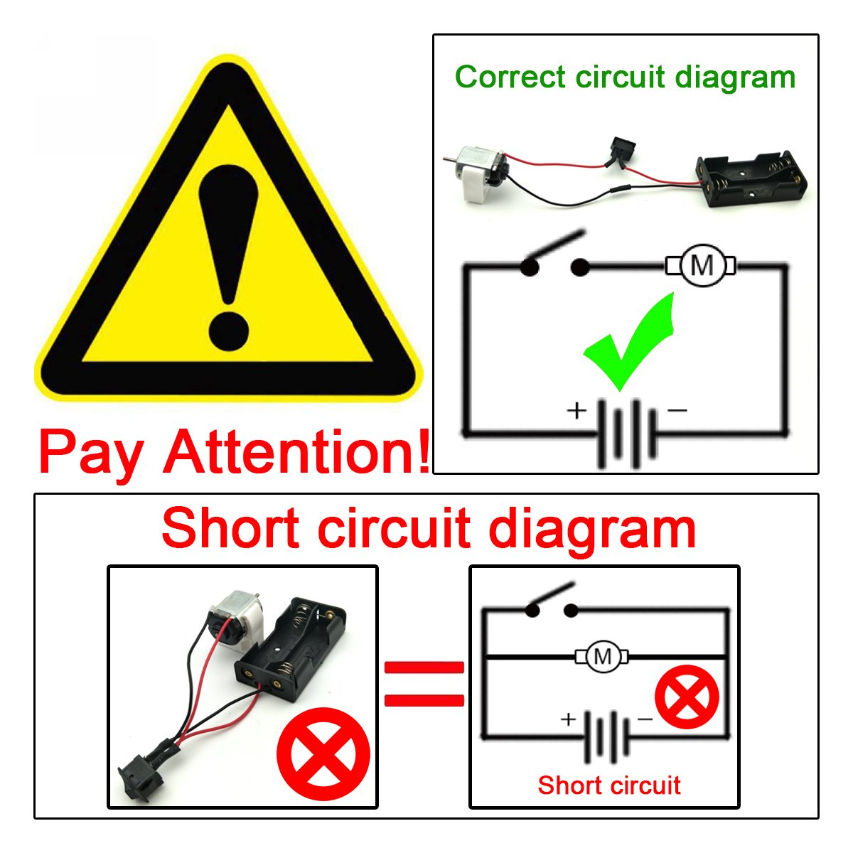 Eudax 15set Rectangular Dc Motor Mini Electric 15 Rocker Switch Wiring Diagram Get Free Image About 3v 24000rpm With 98 Lead Wires 2 X 15v Aa Battery Holder Case And