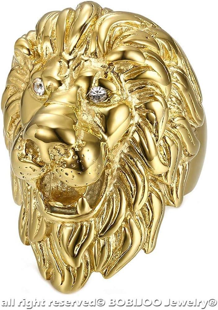 BOBIJOO Jewelry Enorme Lourd Bague Chevali/ère Homme T/ête de Lion Voyageur Or PVD Yeux Diamants