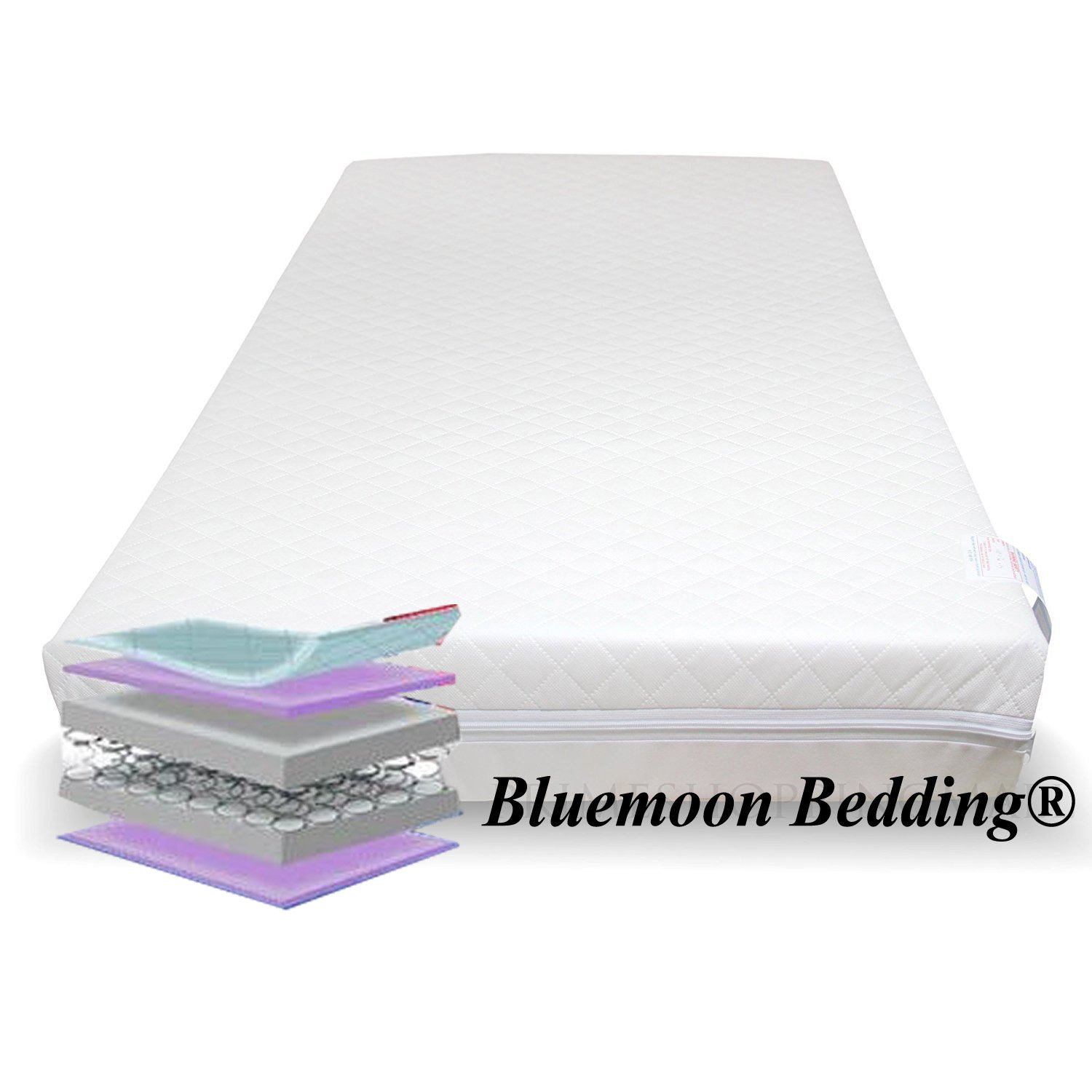 QUILTED SPRING COT BED MATTRESS BABY COT MATTRESSES (110X54X13 CM) Bluemoon Bedding®