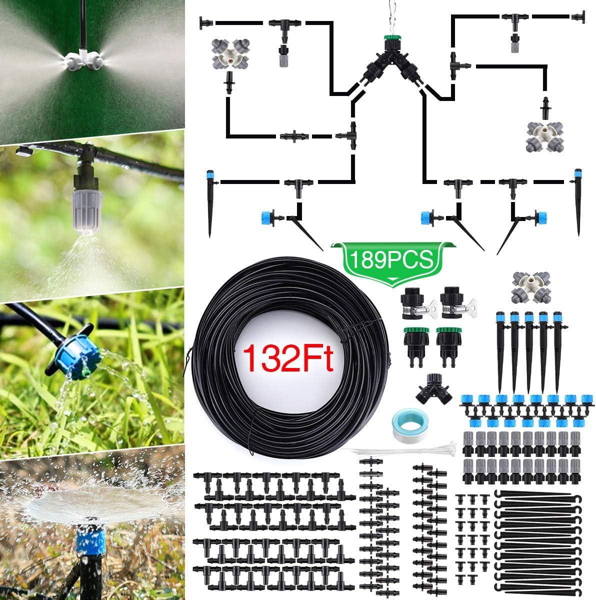 Jeteven 40M Sistema de Riego de Jardín, 189Pcs Kit Riego Goteo, Sistema de Riego Automatico por Goteo, para Jardines, Macizo de Flores, Plantas de Jardín