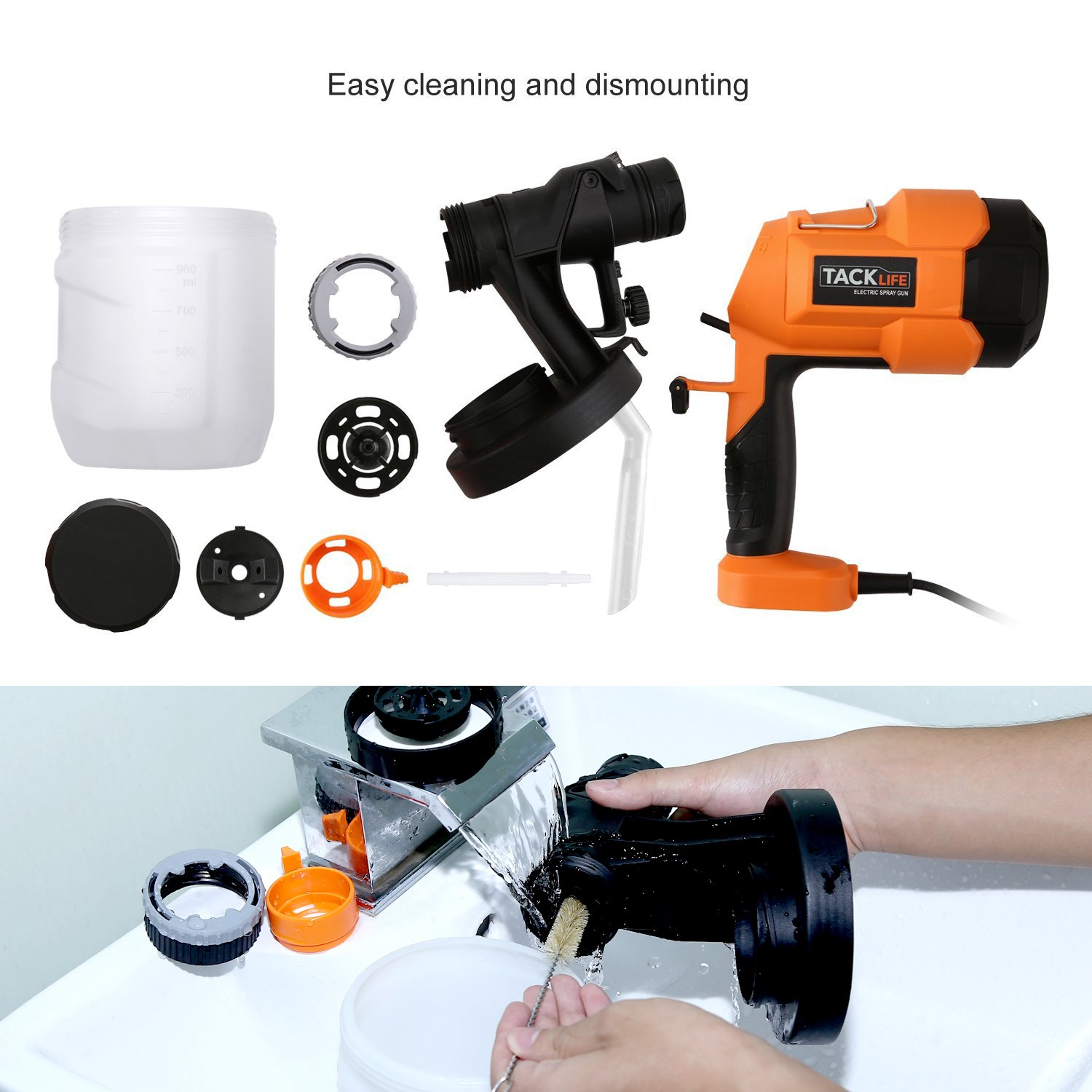 Tacklife sgp15ac advanced electric spray gun 800mlmin paint sprayer tacklife sgp15ac advanced electric spray gun 800mlmin paint sprayer with three spray patterns amazon home improvement fandeluxe Gallery