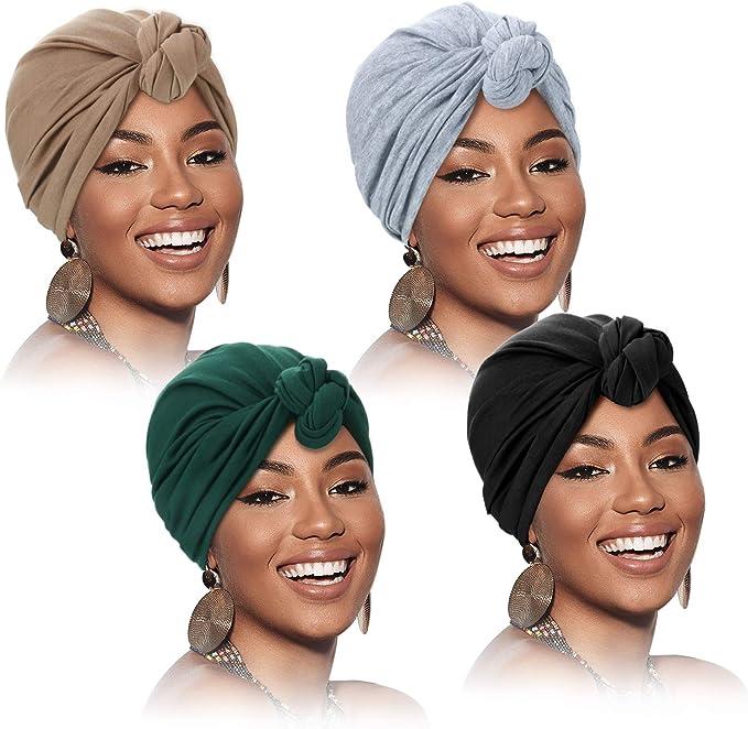 SATINIOR 3 Paquetes Turbantes para Mujer Gorra Turbante Plisada de Moda suave con Nudo Preatado Envoltura de Cabeza Sombrero de Dormir 3 Colores