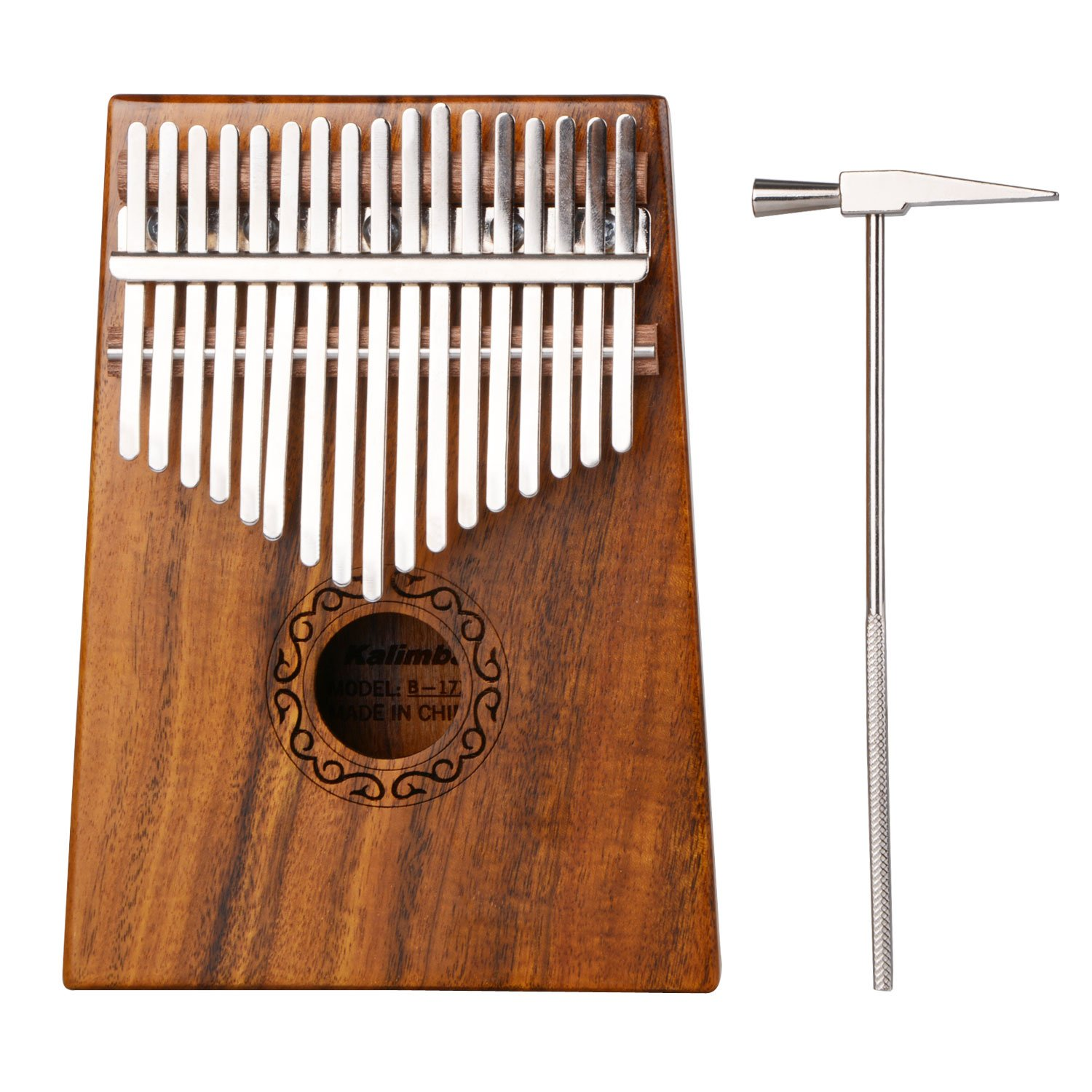 17 Key Kalimba Thumb Piano, Povkeever Portable Finger Piano Pocket Size With Tune Hammer for Beginners and Children 1762401