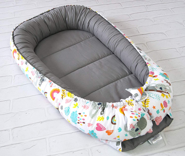 Mint PIMKO Babynest Babynestchen f/ür Baby Kuschelnest 2-seitig Babykokon f/ür S/äuglinge und Neugeborene Babynestchen 100/% Baumwolle Babykissen geeignet f/ür Zuhause oder als Reisebett 55 x 90 cm