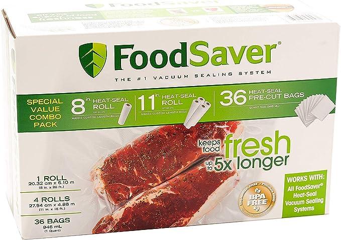 "Amazon.com: גלילי 20 ס""מ ו-28 ס""מ במבנה רב שכבתי, נטול ביספנול A, אריזה של יחידת מרובות תוצרת FoodSaver: Kitchen & Dining"