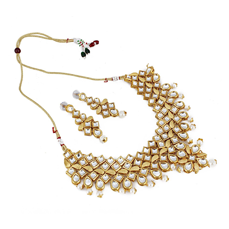 Aradhya Bollywood Inspired Gold Plated Kundan Jewellery Necklace Set