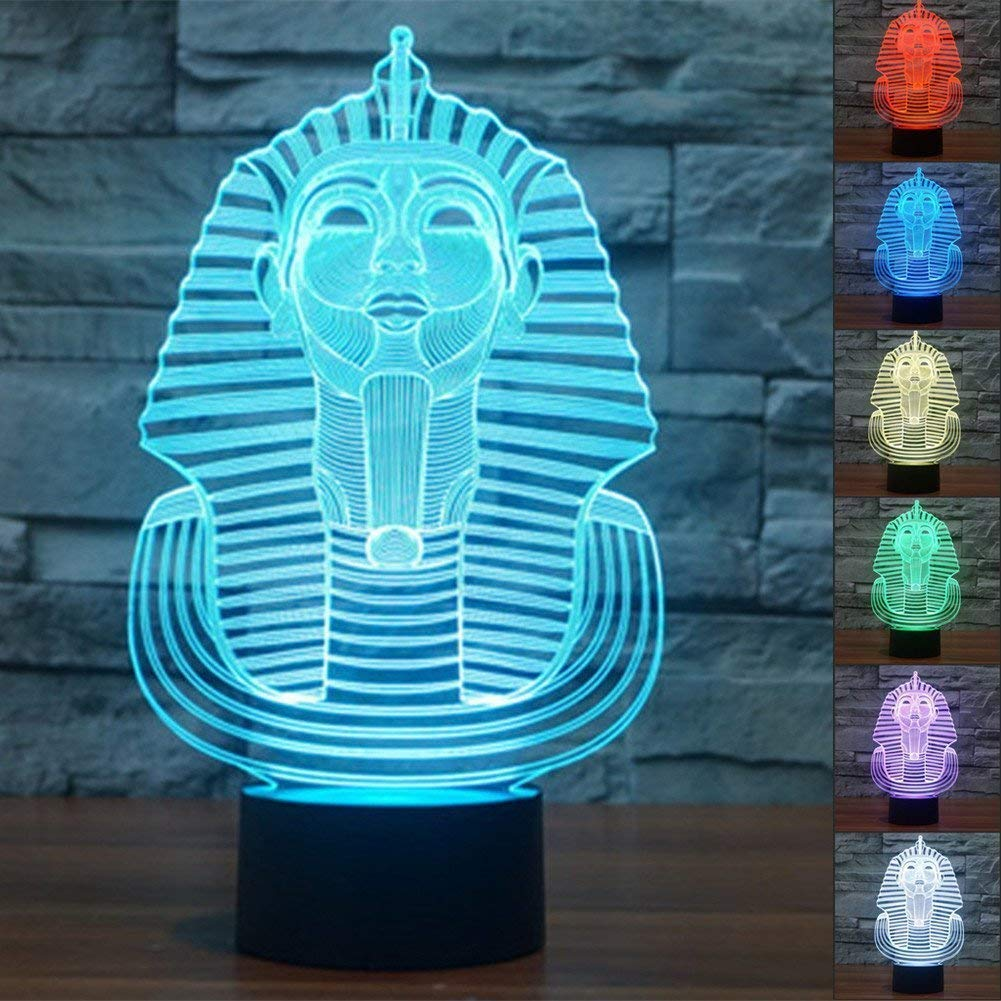 Optical Illusion 3D Pharaoh Night Light 7 Colors Changing USB Power Touch Switch Decor Lamp LED Table Desk Lamp Brithday Children Kids Christmas Xmas Gift