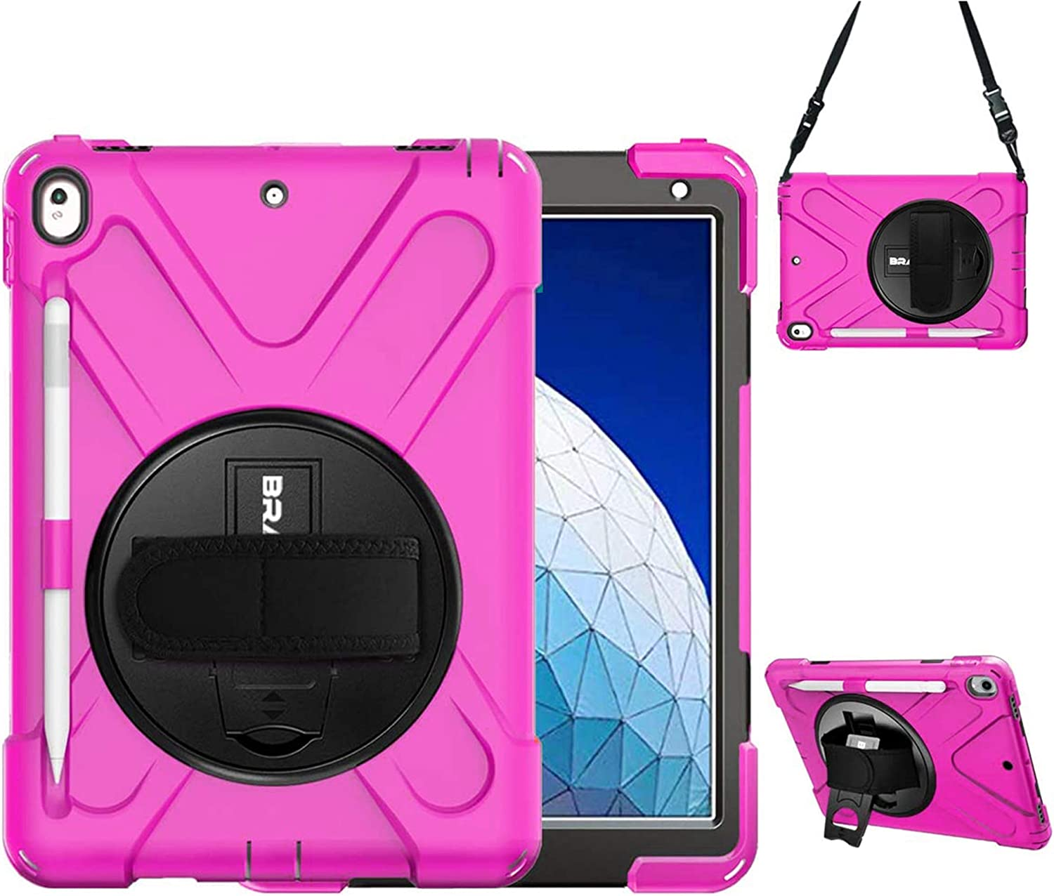 BRAECN iPad Air 10.5 Inch case, [Heavy Duty] Rugged Shockproof Protective Case Cover with Built-in Kickstand/Handle, Attachable Shoulder Strap and Pencil Holder for iPad Pro 10.5 Inch 2017 case-Rose