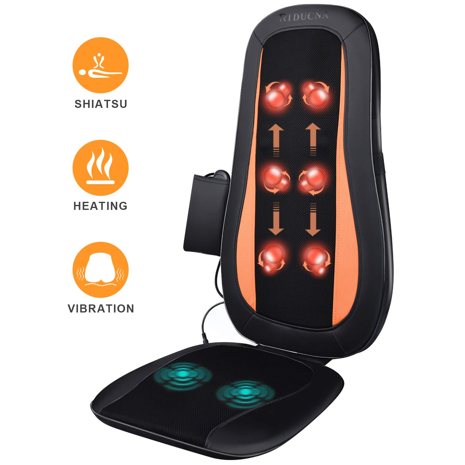 Massage Chair Pad Shiatsu Back Massager with Heat - Electric Massage Cushion with Deep Tissue Kneading for Full Back Muscle Pain Relief - Home and Office Use by TRIDUCNA