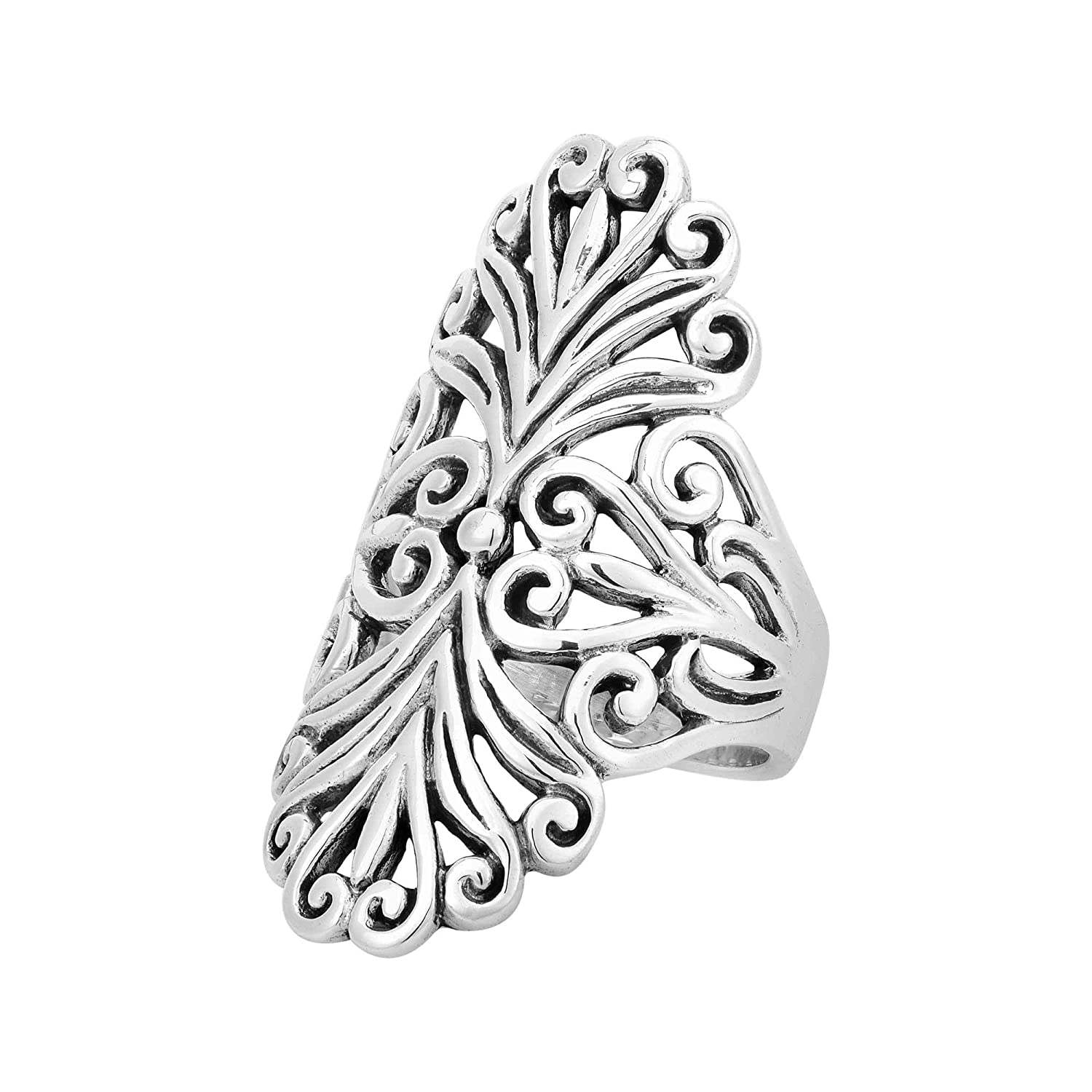 AeraVida Vintage Inspired Oval Heart in Swirls .925 Sterling Silver Ring