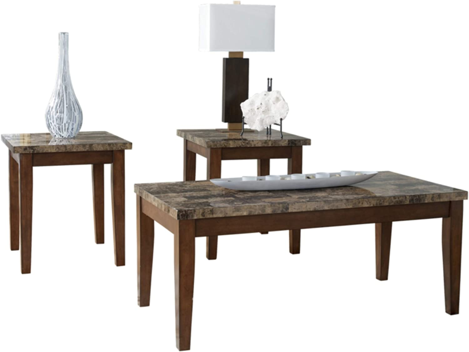 Signature Design by Ashley - Theo Faux Marble Occasional Table Set - Includes Cocktail Table & 2 End Tables, Warm Brown