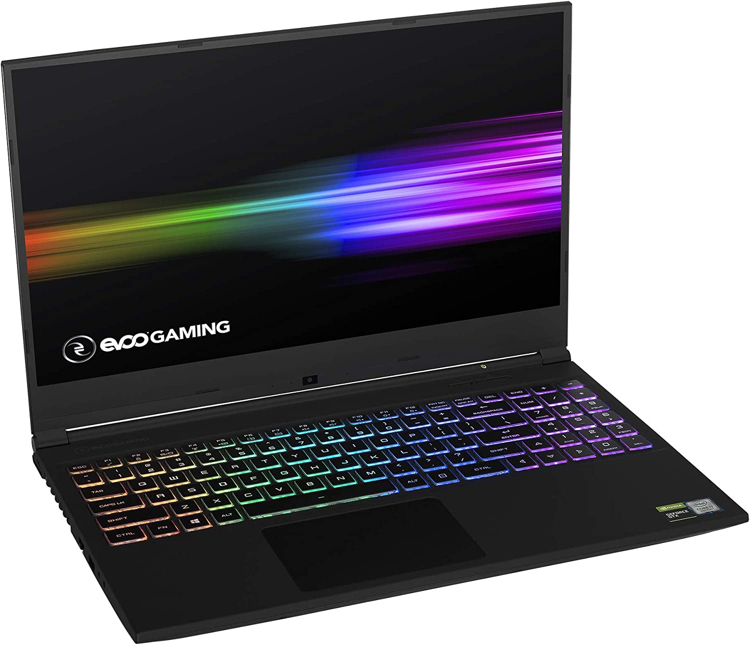 "EVOO Gaming Laptop 15"" FHD 144Hz Display, THX Spatial Audio, Tuned by THX Display, 9th Gen Intel i7-9750H, Nvidia GTX 1650, 256GB SSD, 16GB Memory, Windows 10 Home, Black"